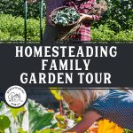 Pinterest pin for a Homesteading Family Garden Tour. Images of their seven different garden spaces.