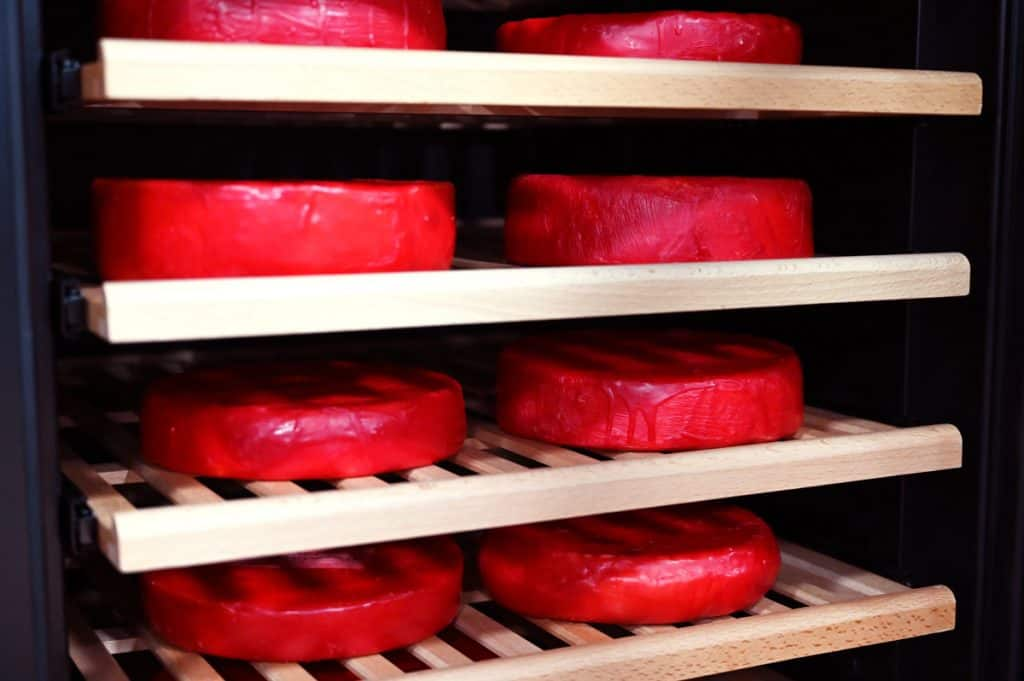 Eight waxed wheels of cheese in a cheese cave.